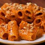 Rigatoni con gorgonzola mascarpone, nduja e noci