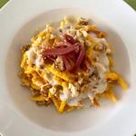 Trofie con pesto di carote e noci, speck e crema di gorgonzola 😍