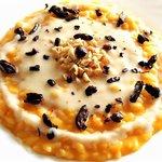 Risotto Carnaroli FALASCO con crema di zucca e gorgonzola Dop, nocciola tostata Igp, fava di cacao