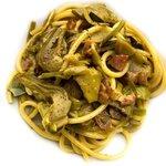 Spaghetti con carciofi,guanciale e zabaione salato