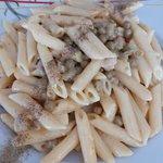 Pasta e piselli con pancetta e panna 😋