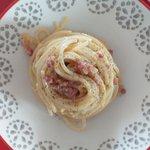 Spaghettoni con scalogno prosciutto crudo mantecato con uova