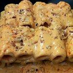 Rigatone gorgonzola mascarpone, 'Nduja di Spilinga e noci tostate