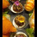 Polpette di spinaci in crosta di noci e crema al Gorgonzola